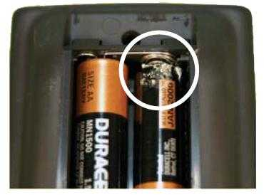how to clean leaking AA batteries
