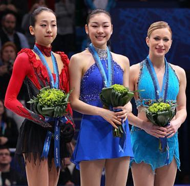 Kim Yuna, Mao Asada and Joannie Rochette at 2010 Olympics Vancouver Ceremony